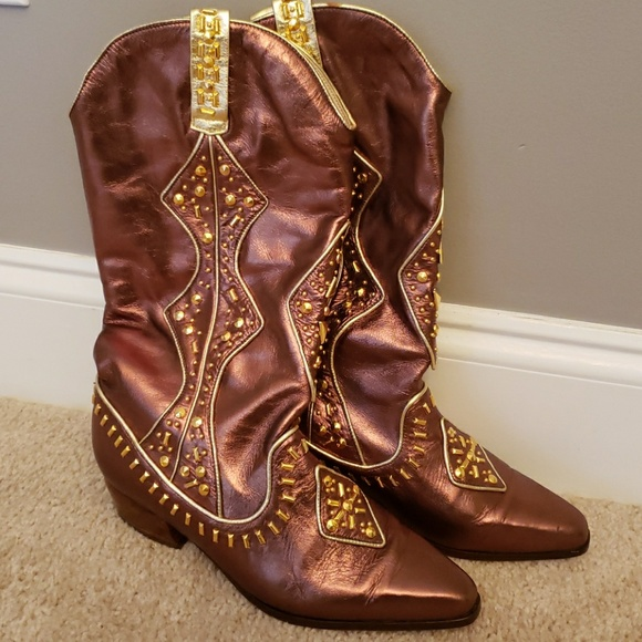 c702e745457b Bronze brown gold bling boots size 6.5